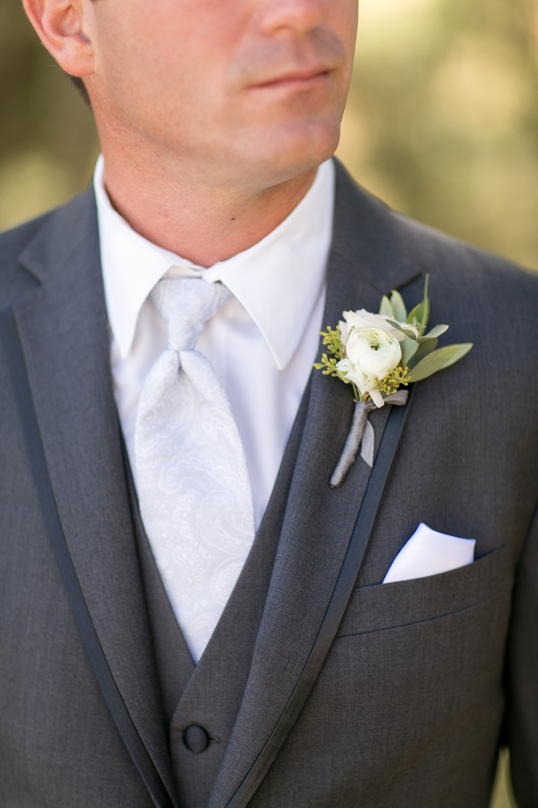 Ranunculus Boutonniere at Croad Vineyard Wedding by Paso Robles Wedding Florist Flowers By Denise