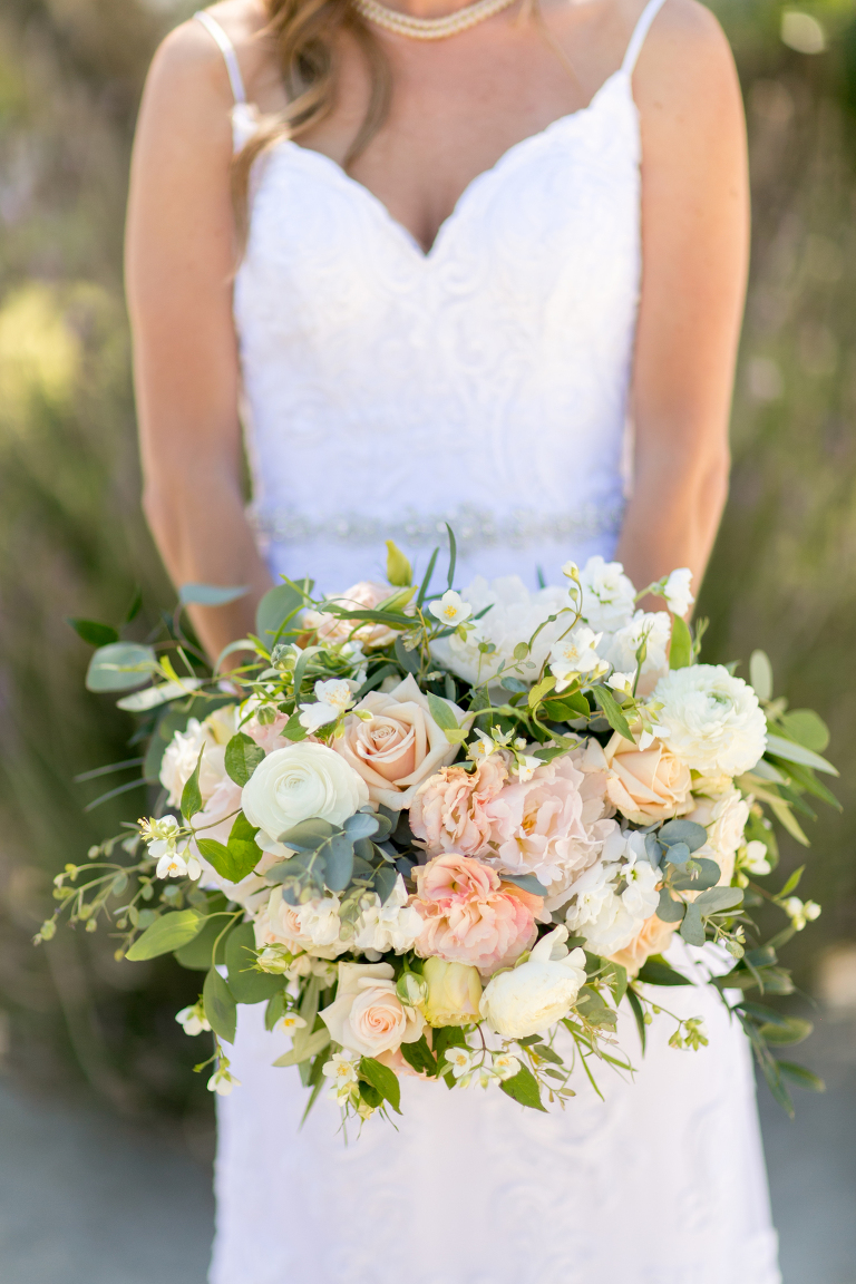 Blush and Peach Bridal Bouquet at Croad Vineyard Wedding by SLO Wedding Florist Flowers By Denise